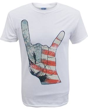 Men's America Flag Horns white T