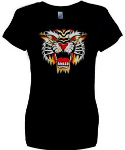 Ladies' Old School Tiger black T