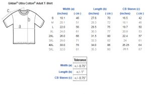 size chart for Men's t-shirts